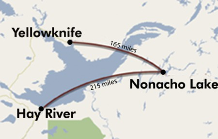 Map_of_air_Miles_from_Yellowknife_to_Nonacho_Lake_Fishing_camp